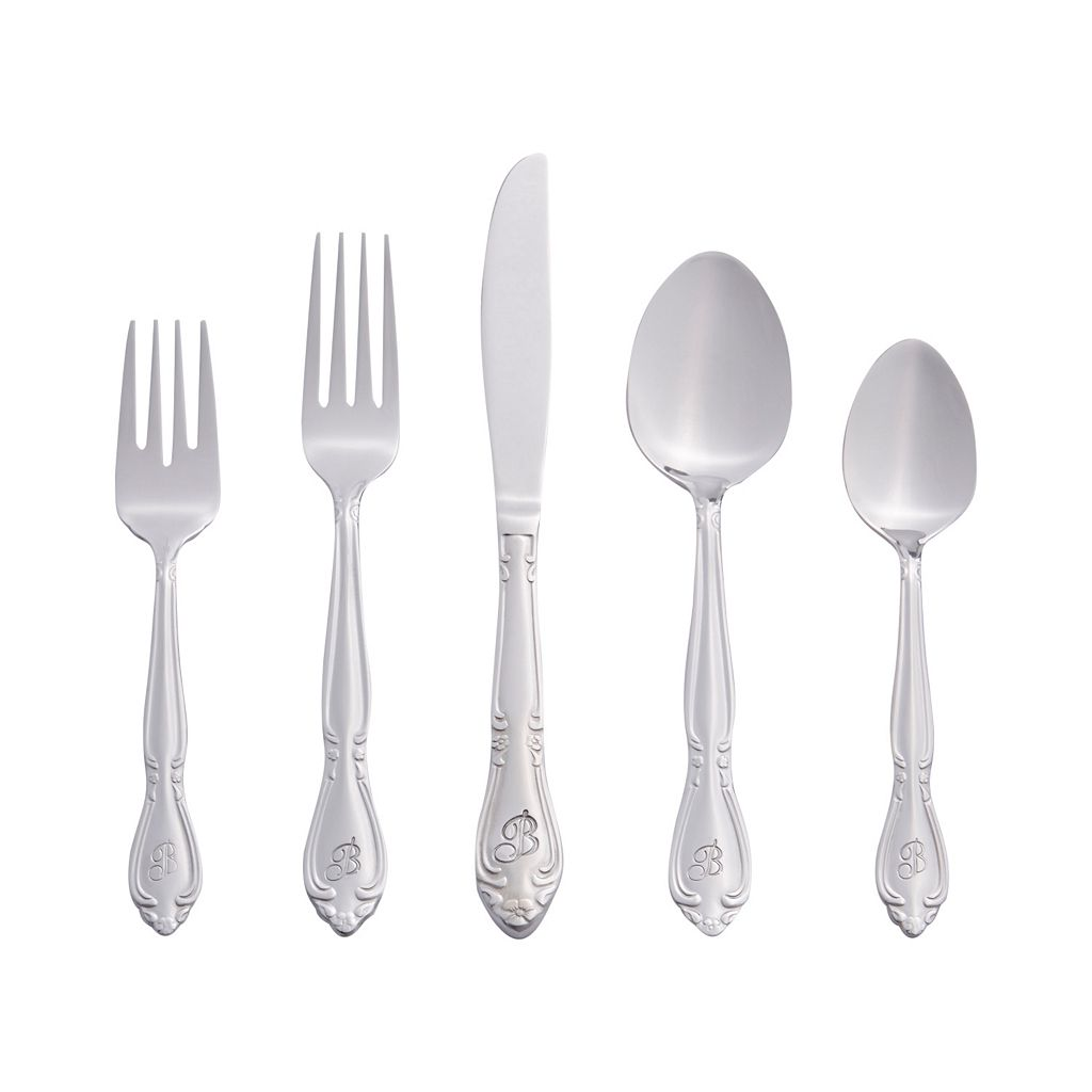 RiverRidge Home Rose 46-pc. Monogram Flatware Set