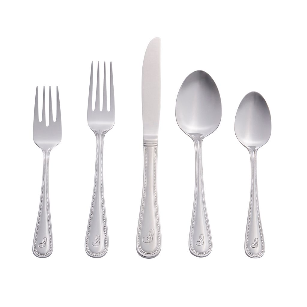 RiverRidge Home 46-pc. Beaded Monogram Flatware Set