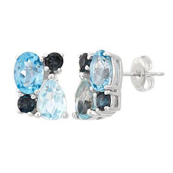 Blue Topaz Sterling Silver Cluster Stud Earrings