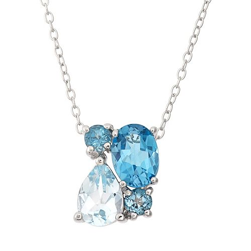 Blue Topaz Sterling Silver Cluster Pendant Necklace