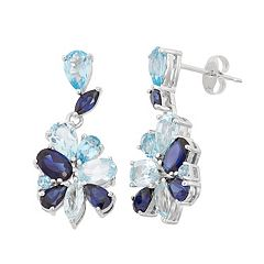 Blue Topaz & Lab-Created Sapphire Cluster Drop Earrings