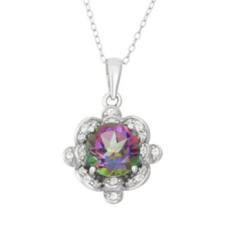 Mystic Topaz & Lab-Created White Sapphire Sterling Silver Flower Pendant Necklace