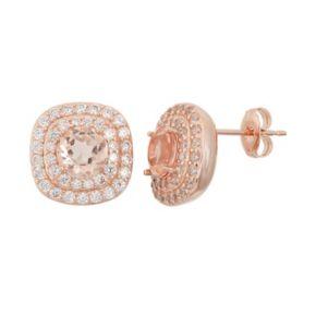 Peach Quartz Doublet & Cubic Zirconia 18k Rose Gold Over Silver Halo Stud Earrings