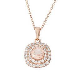 Peach Quartz Doublet & Cubic Zirconia 18k Rose Gold Over Silver Halo Pendant Necklace