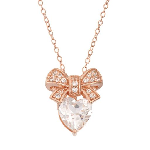 Lab-Created White Sapphire 18k Rose Gold Over Silver Bow & Heart Pendant Necklace