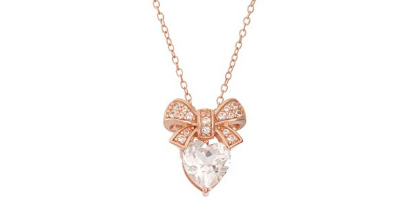 Lab Created White Sapphire 18k Rose Gold Over Silver Bow