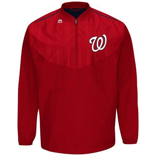 Men's Majestic Washington Nationals On-Field Cool Base Long-Sleeve Training Jacket
