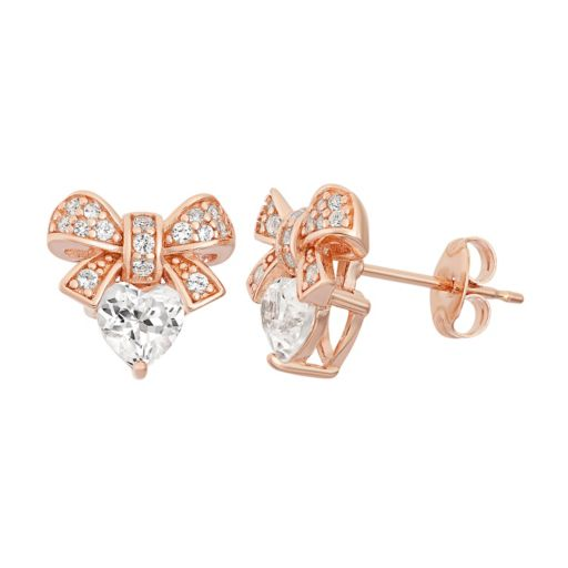 Lab-Created White Sapphire 18k Rose Gold Over Silver Bow & Heart Stud Earrings