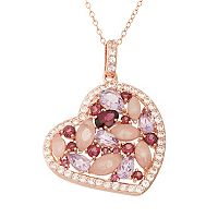 Rose Quartz & Gemstone 18k Rose Gold Over Silver Heart Pendant Necklace