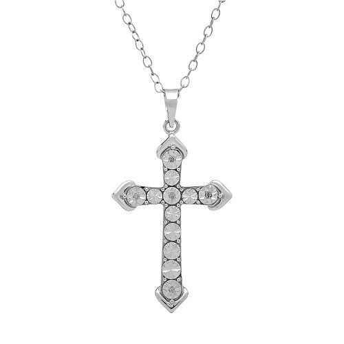 DIAMORE Diamond Accent Sterling Silver Cross Pendant Necklace