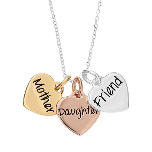 "Timeless Sterling Silver Tri-Tone ""Mother Daughter Friend"" Triple Heart Pendant Necklace"