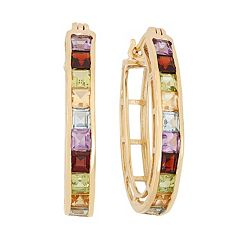 Gemstone 18k Gold Over Silver Hoop Earrings