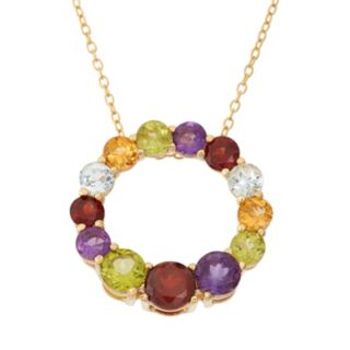 Gemstone 18k Gold Over Silver Circle Pendant Necklace