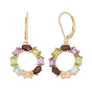 Gemstone 18k Gold Over Silver Circle Drop Earrings