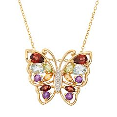 Gemstone 18k Gold Over Silver Butterfly Pendant Necklace