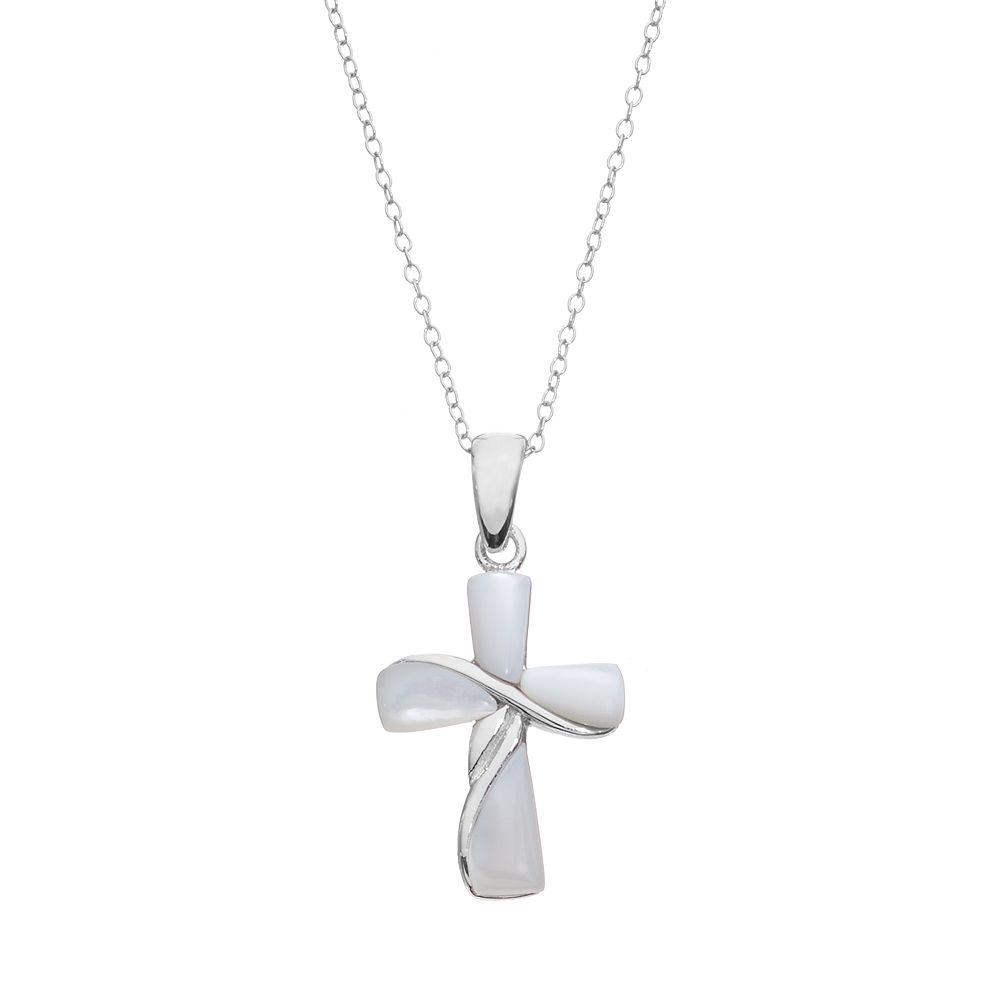 Mother of pearl sterling silver cross pendant necklace aloadofball