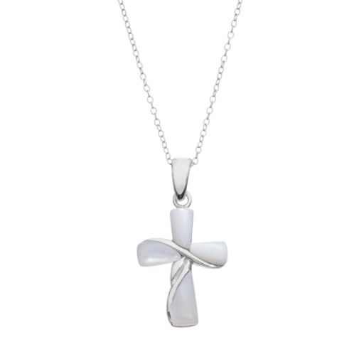 Mother-of-Pearl Sterling Silver Cross Pendant Necklace