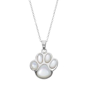 Mother of pearl sterling silver paw print pendant necklace aloadofball Gallery