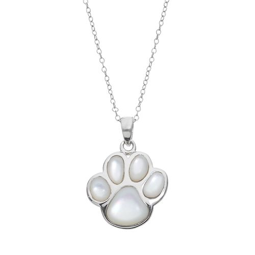 Mother-of-Pearl Sterling Silver Paw Print Pendant Necklace