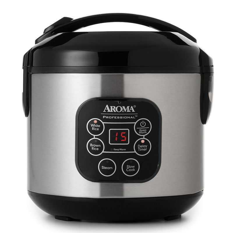 Aroma 8-Cup Stainless Steel Digital Rice Cooker, Silver
