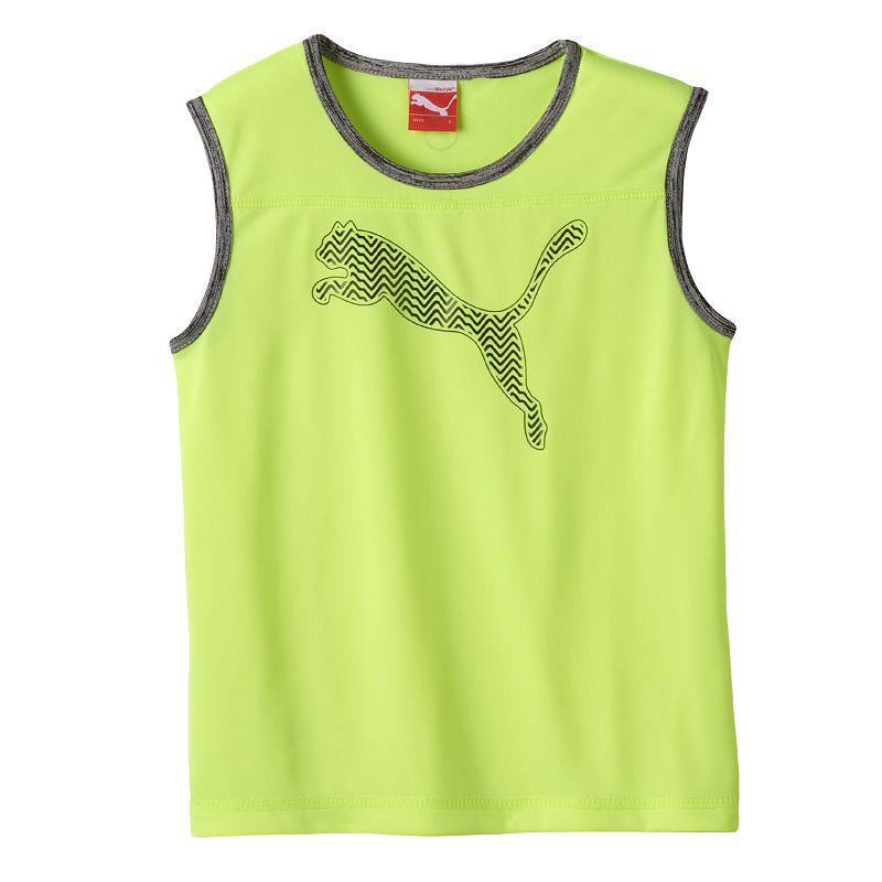 Yellow Puma Logo Puma Chevron Logo Muscle Tee