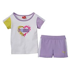 Toddler Girl PUMA Heart Splatter Tee & Shorts Set