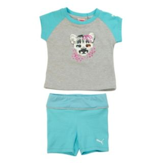 Toddler Girl PUMA Raglan Tee and Shorts Set