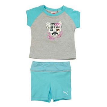 Toddler Girl PUMA Raglan Tee & Shorts Set