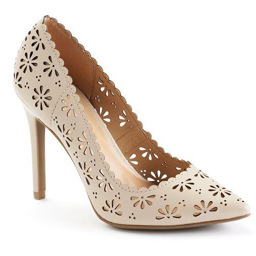 LC Lauren Conrad Women's Floral Cutout High Heels