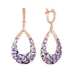 Cubic Zirconia Rose Gold Tone Sterling Silver Teardrop Earrings