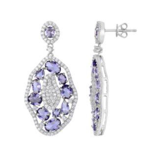 Sterling Silver Cubic Zirconia Cluster Drop Earrings