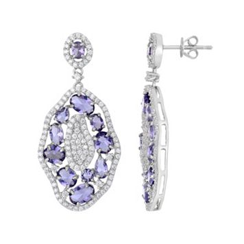 Sterling Silver Cubic Zirconia Cluster Drop Earrings