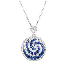 Sterling Silver Cubic Zirconia Swirl Disc Pendant Necklace