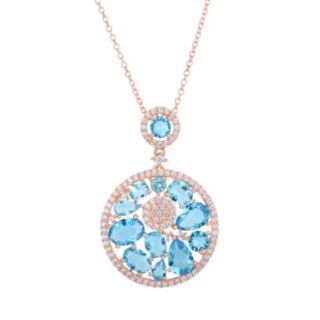 Sterling Silver Cubic Zirconia Circle Pendant Necklace