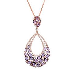 Cubic Zirconia Rose Gold Tone Sterling Silver Teardrop Pendant Necklace