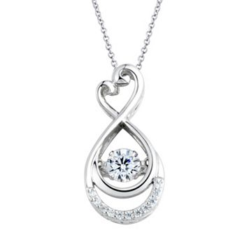 Floating DiamonLuxe 5/8 Carat T.W. Simulated Diamond Sterling Silver Heart Infinity Pendant Necklace