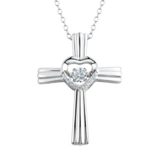 Floating DiamonLuxe 1/3 Carat T.W. Simulated Diamond Sterling Silver Heart Cross Pendant Necklace