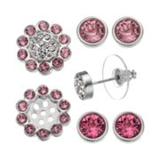 Crystal Colors Crystal Silver Tone Interchangeable Flower Jacket & Stud Earring Set - Made with Swarovski Crystals