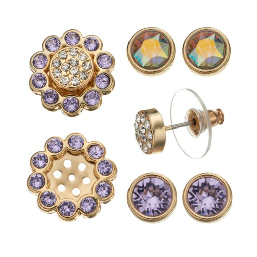 Crystal Colors 14k Gold-Plated Interchangeable Flower Jacket & Stud Earring Set - Made with Swarovski Crystals
