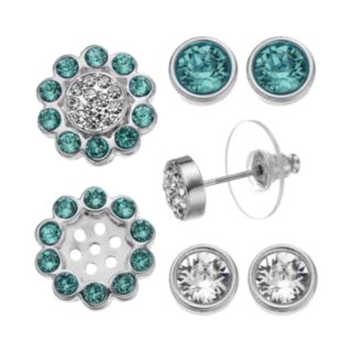 Crystal Colors Silver Tone Interchangeable Flower Jacket & Stud Earring Set - Made with Swarovski Crystals