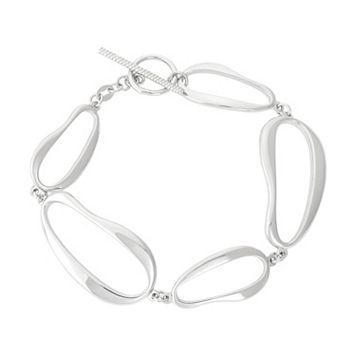 Sterling Silver Wavy Oval Link Toggle Bracelet