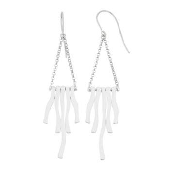 Sterling Silver Wavy Stick Drop Earrings