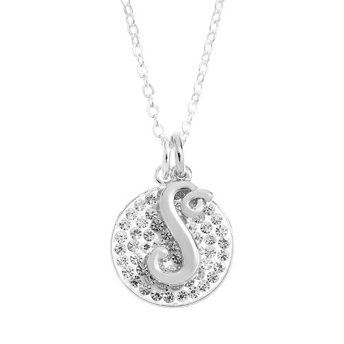 Crystal Silver-Plated Disc & Initial Pendant Necklace