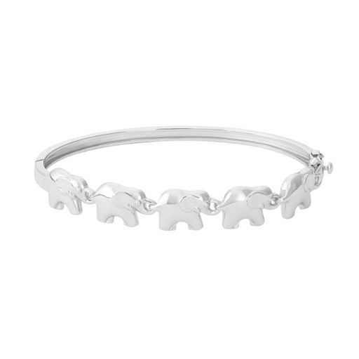 Sterling Silver Elephant Bangle Bracelet