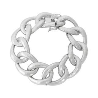 Sterling Silver Hammered Chain Link Bracelet