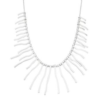 Sterling Silver Wavy Stick Bib Necklace
