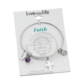 """love this life Amethyst Stainless Steel & Silver-Plated """"Faith"""" Charm Bangle Bracelet"""