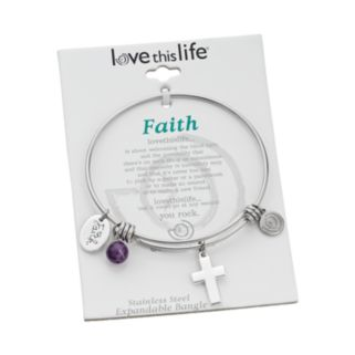 "love this life Amethyst Stainless Steel & Silver-Plated ""Faith"" Charm Bangle Bracelet"