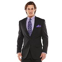 Men's Chaps Black Label Classic-Fit Black Wool-Blend Stretch Suit Jacket