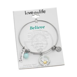 "love this life Amazonite & Crystal Stainless Steel & Silver-Plated '""Believe'"" Charm Bangle Bracelet"